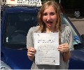 Kirsy with Driving test pass certificate