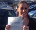 Michelle with Driving test pass certificate