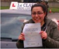 Gabriella with Driving test pass certificate