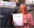 Lianne with Driving test pass certificate