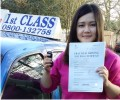 Nina with Driving test pass certificate