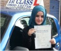Salima with Driving test pass certificate