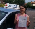 Denise with Driving test pass certificate