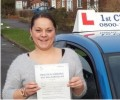 Charlotte with Driving test pass certificate