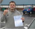 Gary with Driving test pass certificate