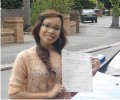 Sunisa with Driving test pass certificate