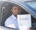 Abinhav with Driving test pass certificate