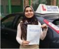 Ayesha with Driving test pass certificate