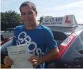 Michael with Driving test pass certificate