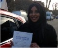 Afaf with Driving test pass certificate